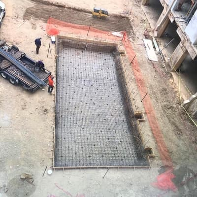 Image of a pool early in the construction process