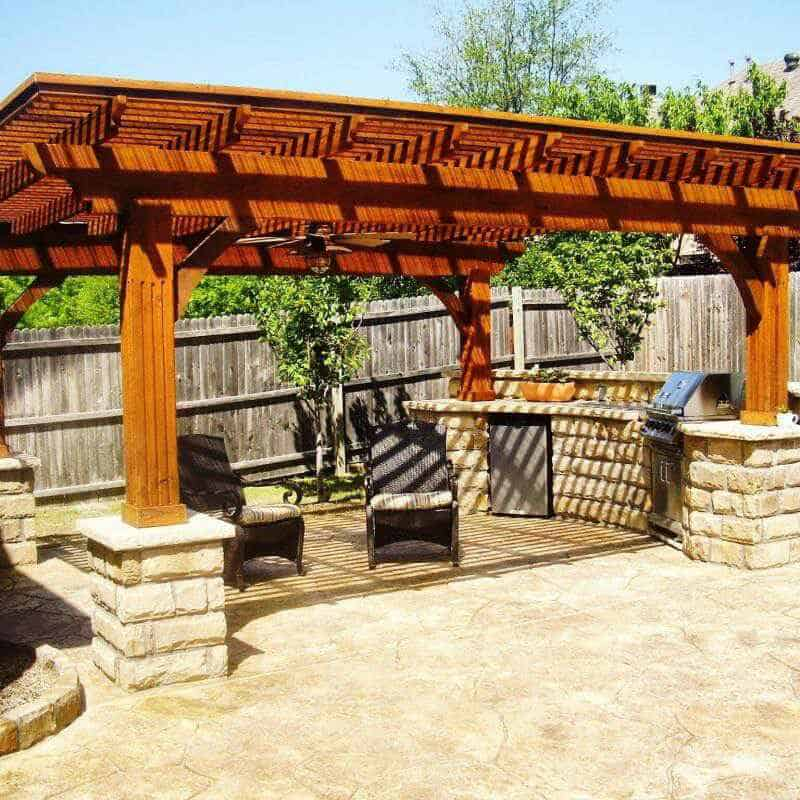Outdoor kitchen with a pergola