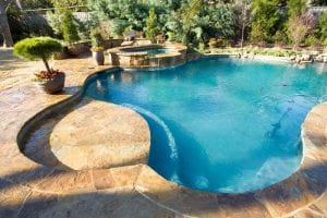 A freeform pool with a hottub and a stone deck and plants