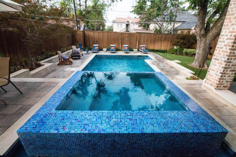 blue glass tile spa